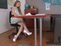 Girl in a pretty dress has sexy feet in pantyhose videos