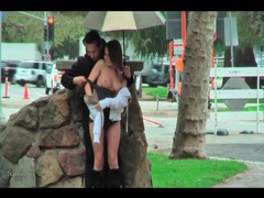 Nearly naked girl groped lustily in public movies at find-best-lingerie.com