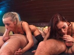 Two beautiful cocksuckers fucked in foursome videos