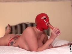 Tight red latex hood on girl sucking a dildo movies at find-best-lingerie.com
