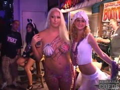 Costume girls at party dance and fool around videos