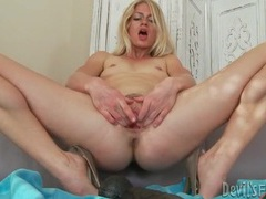 Slim blonde mommy fucks big toys into cunt videos
