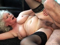 Granny fucked in hairy box by rock hard cock videos