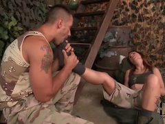 Soldier fondles the feet of a cute girl videos