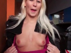 Young blonde shows her tits in parking lot movies at kilopics.net
