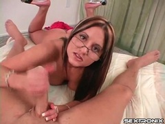 Handjob from glasses girl makes him cum movies at sgirls.net