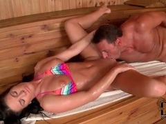 Bikini girl has sweaty sex in the sauna movies at kilosex.com