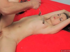 Tugging on her nipple clamps as he fucks her videos