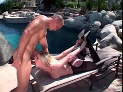 Blonde michelle b wears latex for outdoor sex movies at kilogirls.com