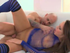 Beautiful girl in blue fucked in her tight vagina tubes
