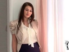 Work outfit of skirt and blouse is hot on babe videos