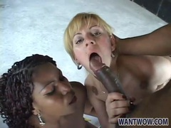 Big black cock serves two hot sluts in threesome movies at find-best-mature.com
