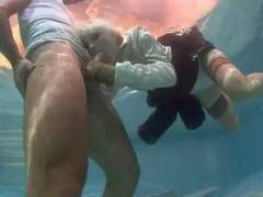 Blonde chick sucks hard dick underwater tubes
