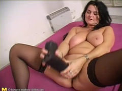 Curvy mature brunette fucks her favorite toy movies