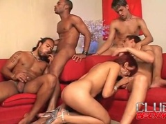 Cocksucking and all holes anal in bisexual orgy movies at sgirls.net