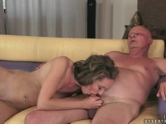 Fucking her young pussy makes grandpa cum videos