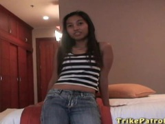 Petite asian gets naked for him and sucks cock tubes at thai.sgirls.net