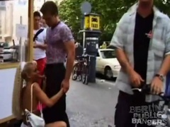 Blonde super slut gives a blowjob in public videos