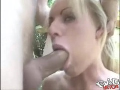 Blue eyed girl with fake tits gets a facefuck videos
