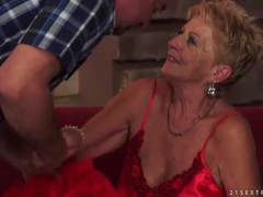 Going down on old lady in sexy satin lingerie movies at lingerie-mania.com