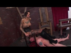 Tattooed girl in boots gets ass licked by sub videos