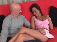 Perky tits brunette gets naked and licks his ass movies at lingerie-mania.com