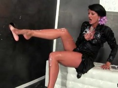 Thick fake cum squirts on brunette in satin blouse videos