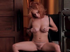 Redhead finger fucks and fondles her tits movies at lingerie-mania.com