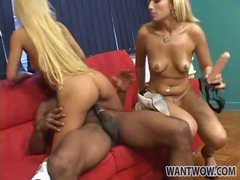 Blonde chicks hook up with black guy for a fuck videos