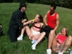 Orgy in a grassy field of a lovely park movies at freekiloporn.com