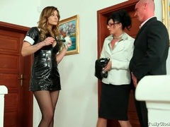 Maid in tight black latex dress is wicked sexy movies at find-best-lesbians.com