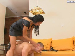 Big tits mistress in dress has her man on a leash movies at lingerie-mania.com