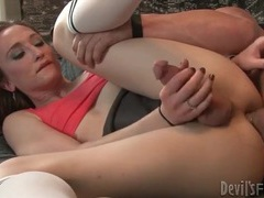 Sporty tranny loves anal sex in shaved ass videos