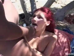 Redhead on a blanket gangbanged by bbc movies at kilosex.com