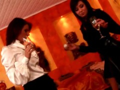 Sexy babes drink champagne in satin blouses movies at find-best-hardcore.com