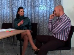 High neck satin blouse on babe in tease video movies at adipics.com