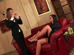 Lesbians kiss sensually and try the taste of pussy movies at find-best-hardcore.com