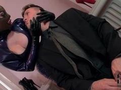 Sexy servant in tight latex sucks his dick videos