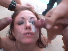 Pretty girl in messy bukkake video outdoors videos