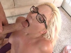 Big facial cumshot for hot blonde in glasses movies at sgirls.net