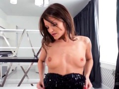 Sparkling party dress on skinny brunette girl tubes