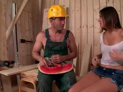 Cocksucking on construction site with slim hottie videos