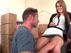Sexy slut in glasses sucks dick in office videos