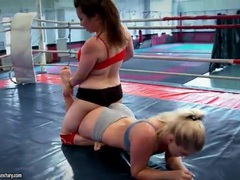 Wrestling women end up having hot lesbian sex videos