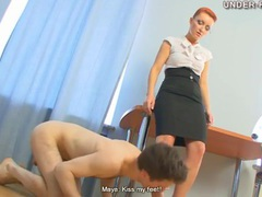 Beautiful dominant redhead tramples him movies at lingerie-mania.com