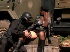 Soldier worships the pussy of the big tits girl videos