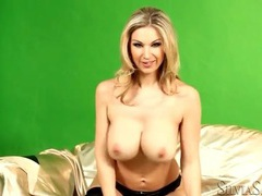 Blonde glamour babe in lingerie has big tits movies at freekilomovies.com