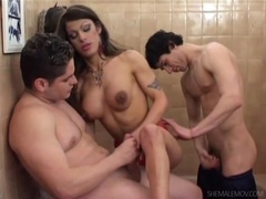 Bathroom threesome with sexy anal shemale movies