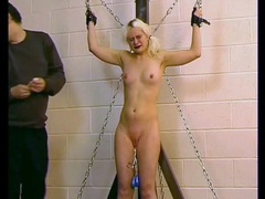 Small tits blonde in bondage likes hot wax pain videos