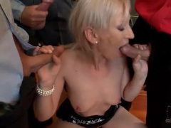 Small bukkake scene with cocksucking blonde movies at kilotop.com